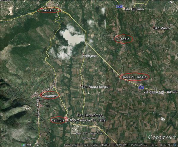 Il territorio di Carinola con le sue frazioni, versante est del Massico