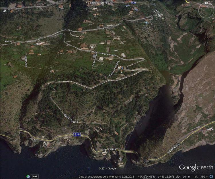 Il fiordo di Furore visto con Google Earth