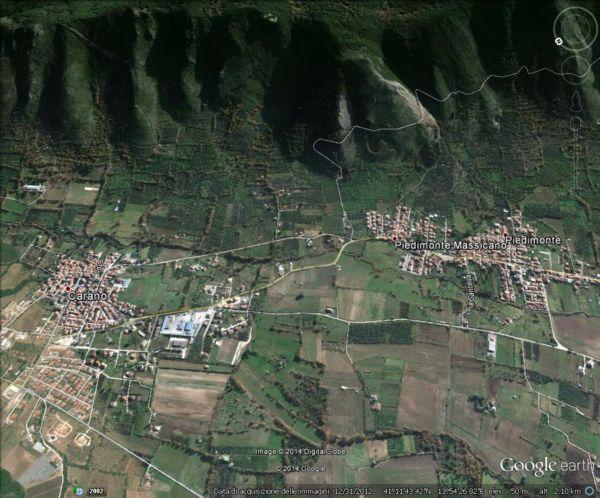 Il monte Massico visto dalle frazioni Piedimonte e Carano di Sessa Aurunca, orientamento sud-est