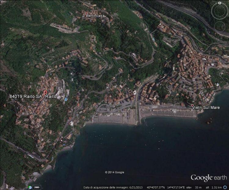 La zona di Vietri sul Mare e Raito vista con Google Earth