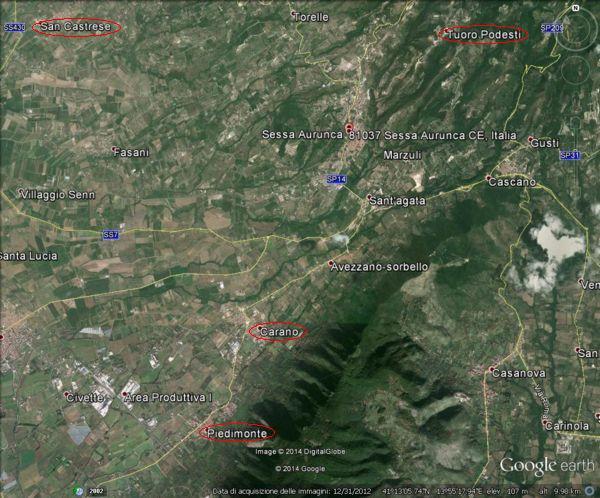 Il territorio di Sessa Aurunca con le principali frazioni vitate (San Castrese, Piedimonte, Carano, Tuoro), versante nord-ovest del monte Massico