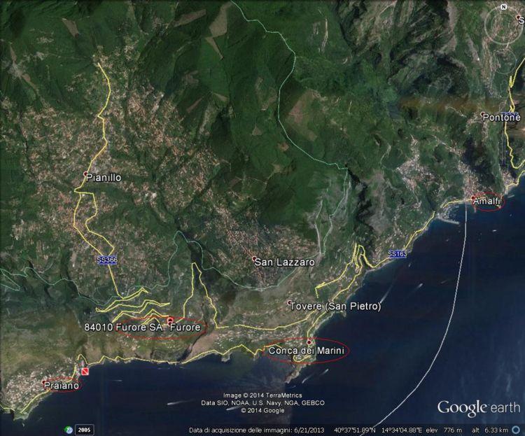 La sottozona Furore della Dop Costa d'Amalfi vista con Google Earth