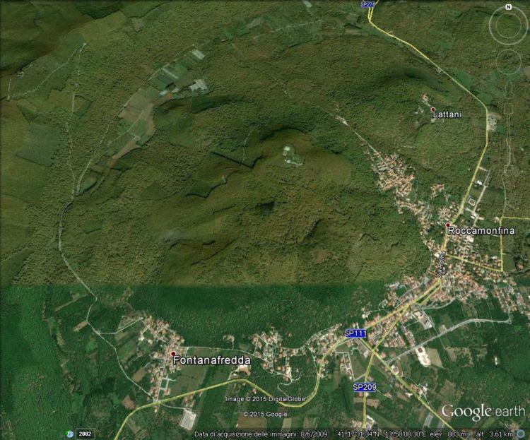 Il complesso vulcanico di Roccamonfina visto con Google Earth