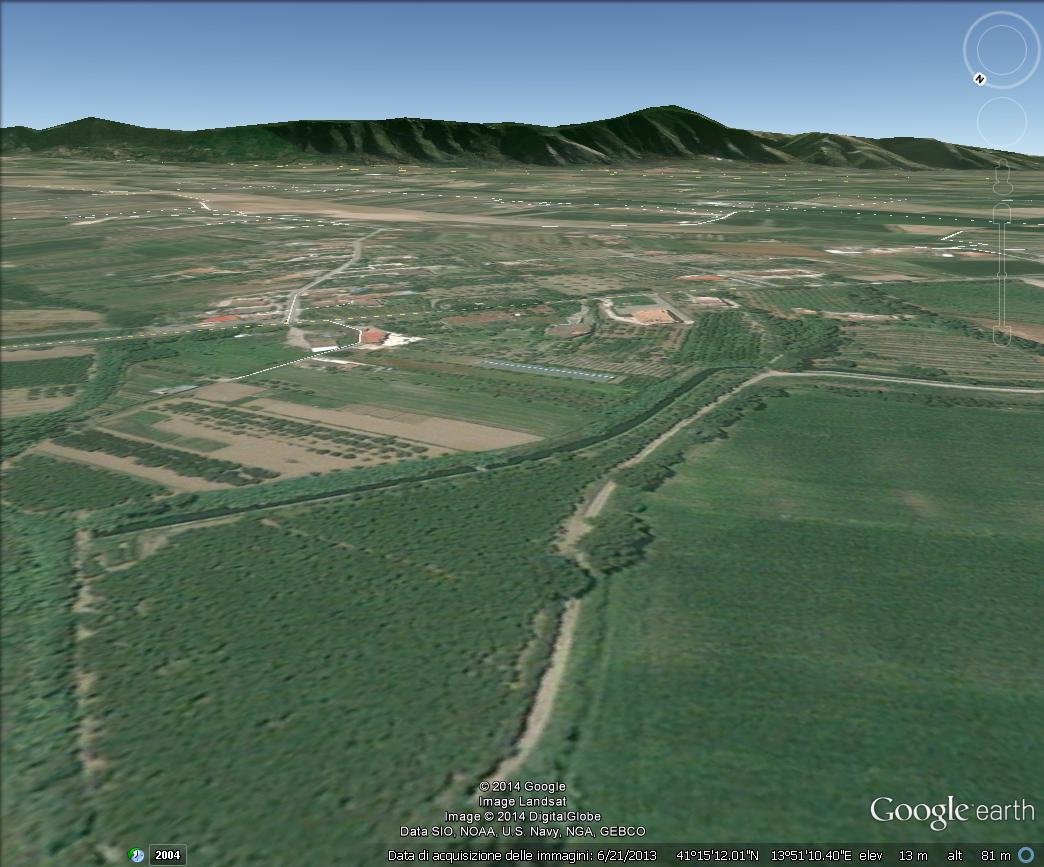 Il monte Massico visto dalla Tenuta San Castrese di Villa Matilde - Google Earth