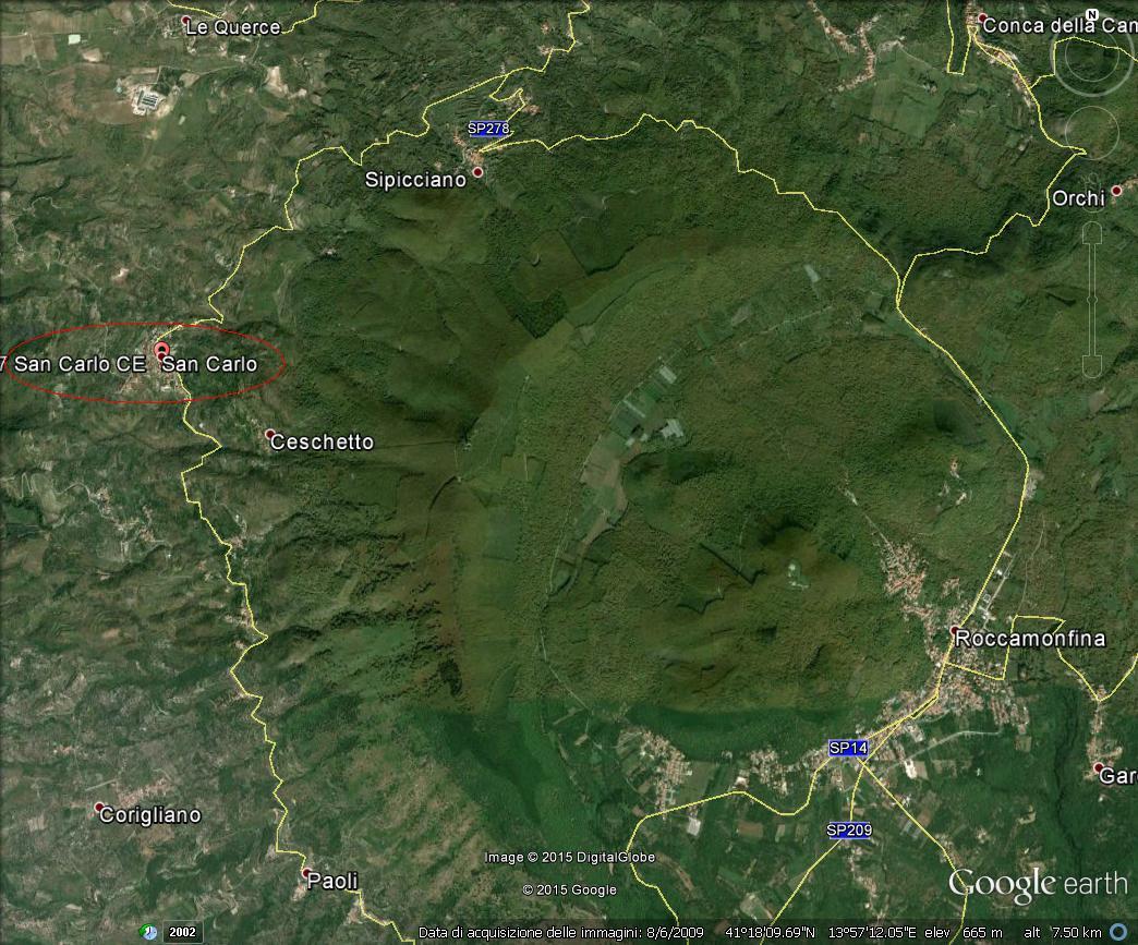 Frazione San Carlo di Sessa Aurunca, versante ovest del complesso vulcanico di Roccamonfina