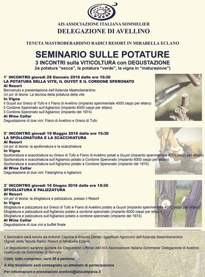 La locandina del seminario sulle potature promosso da Ais Avellino