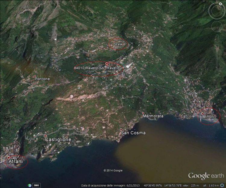 La sottozona Ravello della Dop Costa d'Amalfi vista con Google Earth